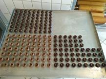Ich habe einige Pralinen mit dunkler Schokolade, und die anderen mit Vollmilchschokolade gemacht.